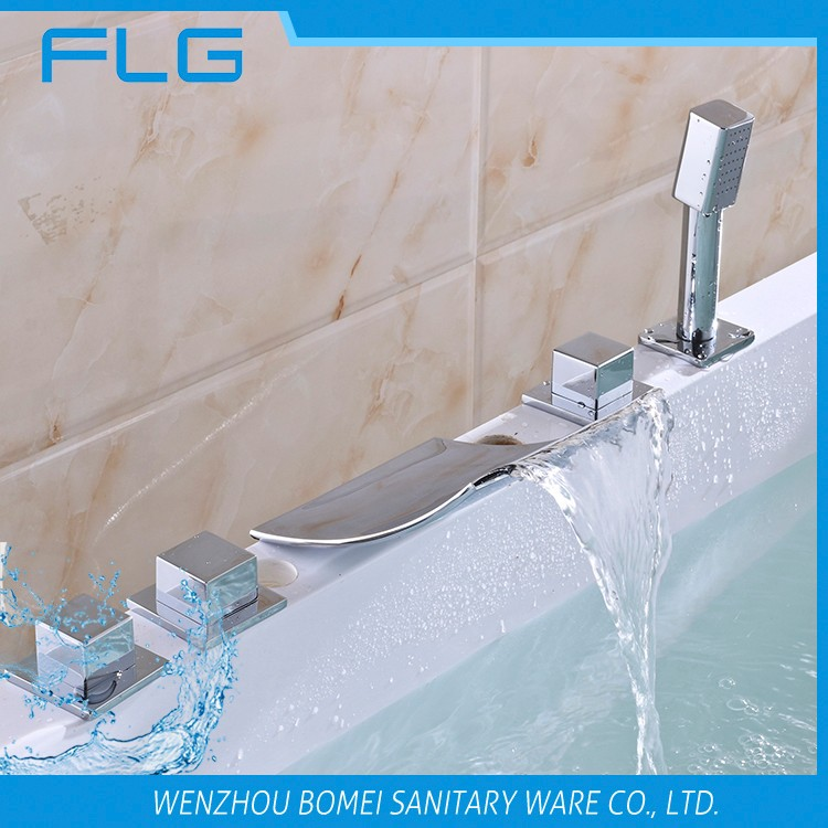 High Quality Product FLG612 Lead Free Chrome Finished Cold&Hot Water 5 PCS Bathtub 5 Holes Shower Faucet set