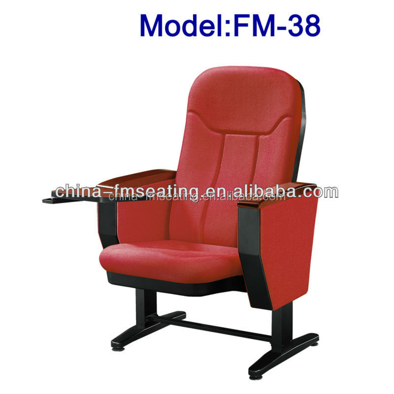 FM-38 Folding padded auditorium chair with writing table