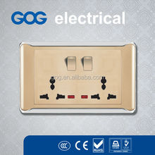 GOG 2 gang switches and double multi function 13a sockets colored electric wall switch and socket