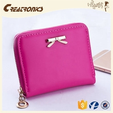 CR Export over 20 countries smooth pu surface inlaid the bow mini coin wallet rose red styling elegant purse women