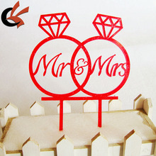 Diamond Ring shape with Mr & Mrs Acrylic Wedding Cake topper