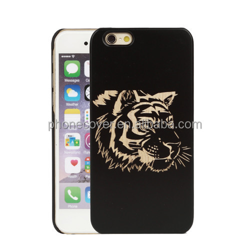Plastic + Natural Wood Case for iPhone 7, Tiger design Ultra Slim mobile Phone case customized back hard case for iPhone 6 Plus