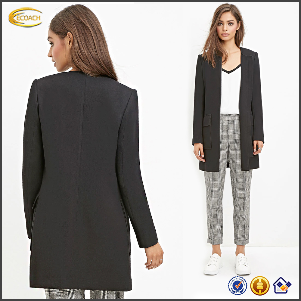 American styles black longline formal ladies suit jackets textured zipper front Collarless blazer with flap pocket for office