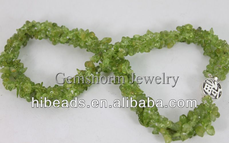 Rare Green Olivine Necklace 4-6MM Irregular Gemstone Beads Necklace Silver Clasp GS011