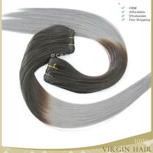 Gold supplier ombre hair double drawn soft no shedding no tangle cheap wholesale remy gray hair weave ombre hair weaves