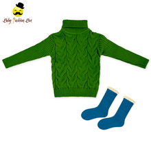 Boutique Kids Clothing Handmade Baby Long Sleeve Winter Unisex Hand Knit Baby Boy Sweater With Sock