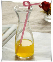 trumpet shape transparent glass beverage juice storage bottle