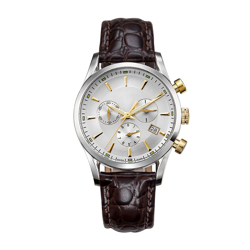Free sample luxury chronograph mens watch with brown leather strap