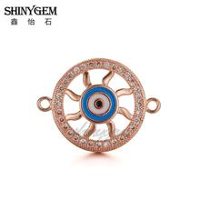 Customize Unique Round Hot Wheels Shape Evil Eye Pave Zircon White CZ Connector Rose Gold Plated Pendant China Factory