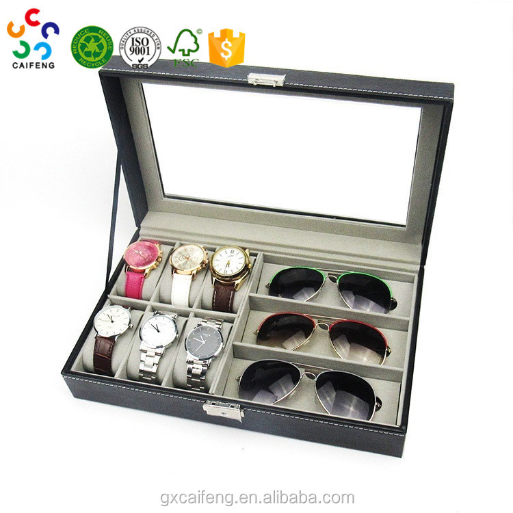Wholesale glasses and watch series Custom made glasses/watch display box high quality leather box for gift glasses