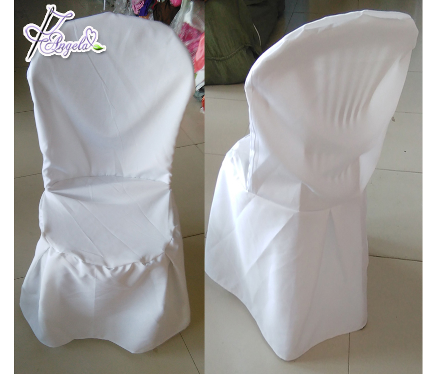 beach wedding chair covers, white basic polyester chair covers with side pleats for plastic Miami chairs in beach weddings