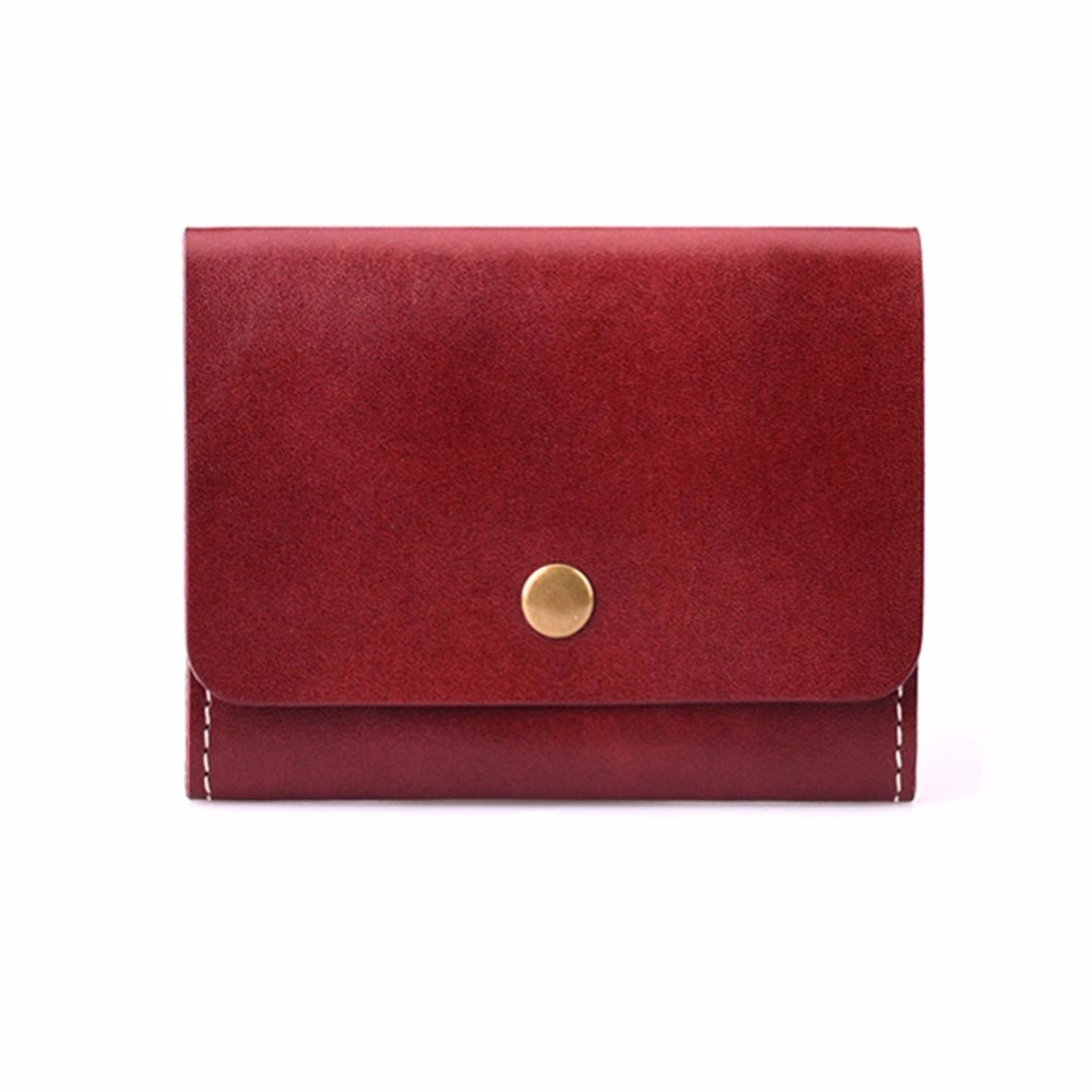Full grain oil waxed leather coin purse lady's mini wallet