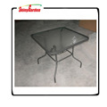 Steel square dining table outdoor garden furniture with tempered glass