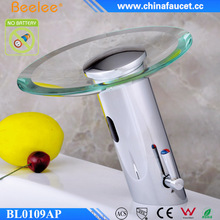 Bathroom No Battery Glass Brass Hot&Cold Water Mixer Shut Off Automatic Sensor Faucet
