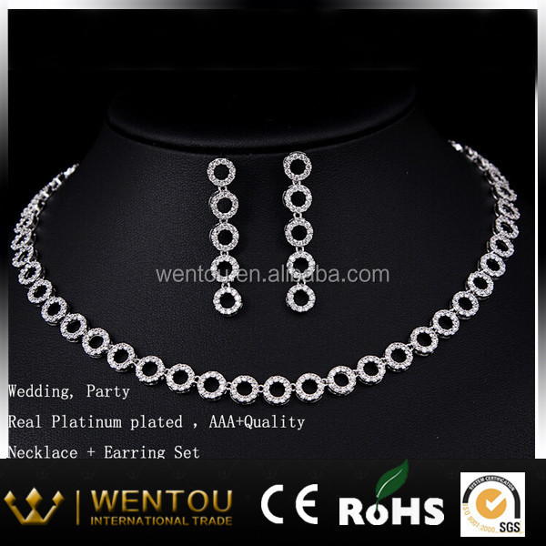 High quality AAA Zircon stone jewelry set real gold plated copper crystal jewelry
