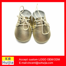 New designs 2017 fashion baby toddle shoes soft gold leather oxford baby shoes