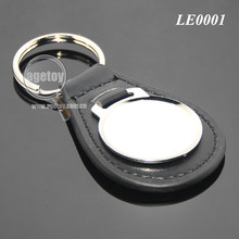 Promotion Round Metal Black Genuine Leather Key Ring