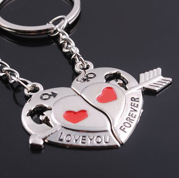 Cheap Zinc Alloy Keychain Double Side Heart Shaped Couple Keychains