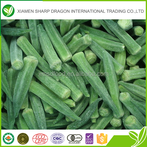Iqf frozen whole fresh new season okra