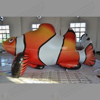 Free shipping 5 meters long PVC Advertising inflatable Cartoon animal model air balloon fish Support custom