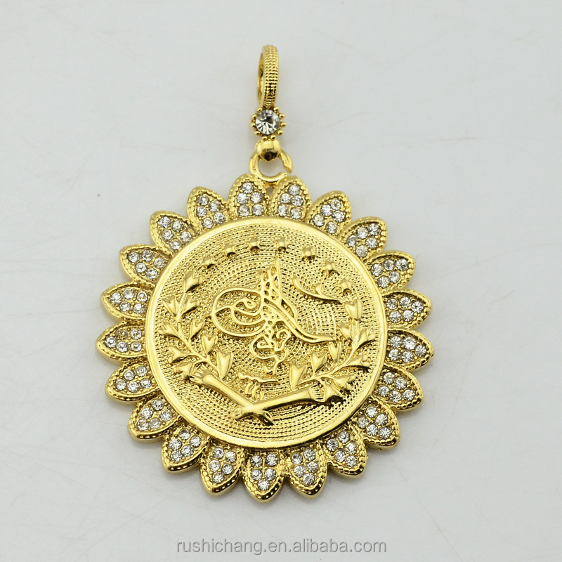 Full Crystals Pendant Necklace Arab Coin Men Women 18K Gold Plated Turkey Coin Pendant Jewelry