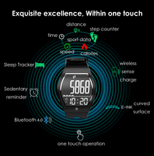 Curved Surface Touch Screen Sleep tracker Wireless Charge Fitness Men Sport E-ink E-Paper Dgital Smart Watch