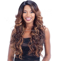 Long Curly African American Synthetic Wig For Black Women Highlight Brown Blonde Wig Synthetic Hair Wigs