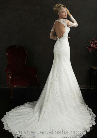 sex long sleeve open back lace backless china wedding dress