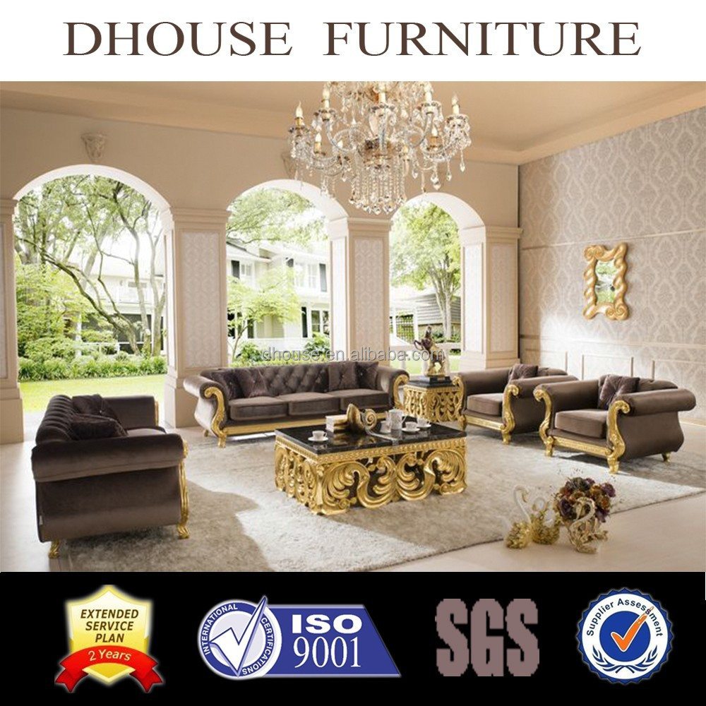 classic wooden carving gloden foil royal livingroom furniture AL187