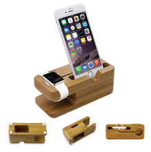 Natural Bamboo Wood Charging Stand for Apple Watch&Phone ,2 in 1 Charging Dock Holder For Apple Watch