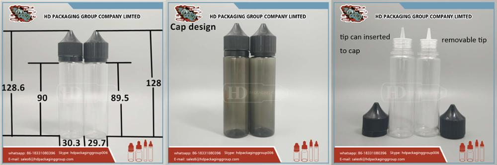 clear bottle 60ml paper box label labeling packagings