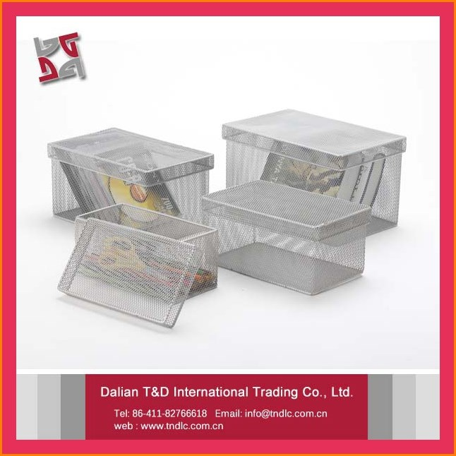 wholesale office/home rectangle mesh box wire cage metal bin storage container