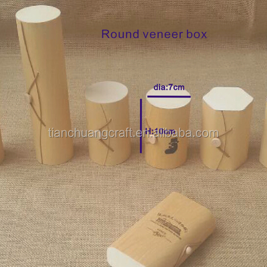 trade assurance manufacture <strong>custom</strong> made round birch wood veneer packaging box dia7xH10cm