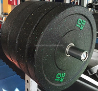top quality used crossfit barbell olympic competition rubber bumper plates