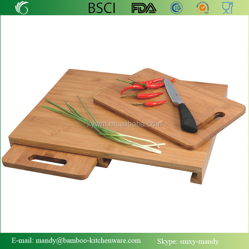 3pcs Bamboo Grip Carving Board Set / Bamboo Cutting Board with drawer