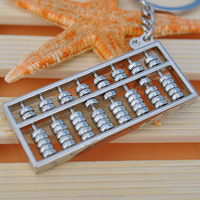 Creative chinese style 8 rows spinning metal abacus keychain Free shipping for wholesale