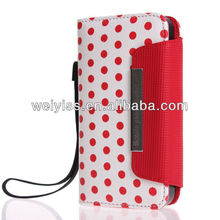 Precise Cutout Handmade Polka Dot Leather Hot Selling Wallet Case for iphone4 and 5