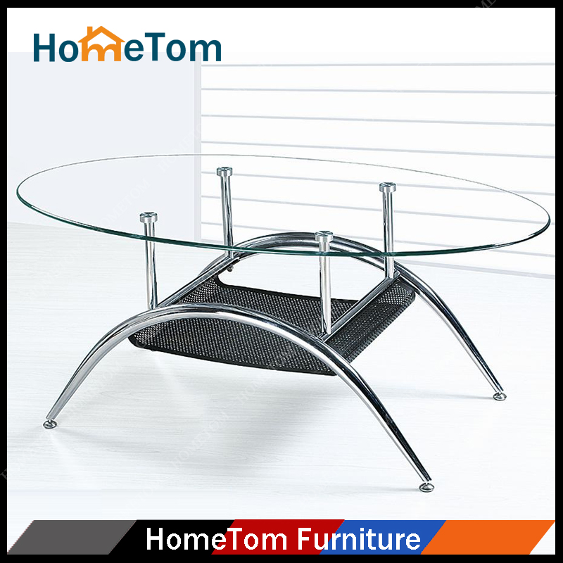 Small Family Living Room Tea Table Stainless Steel Frame Modern Design Office Oval Glass Tea Table