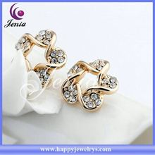 New arrival!Fashionable design beautiful mix colors crystal gold plated gold ear stud YWE4810-4