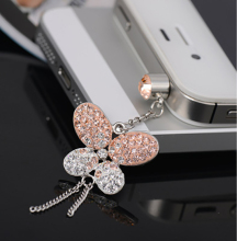 2017 best price high quality phone accessories exquisite present for girl butterfly crystal pendant phone charms dust plug