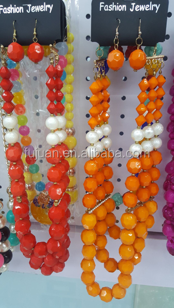 Latest Acrylic Beads Handmade Costume African Jewelry Sets Wholesale