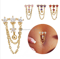 Crystal Gold Dangle Belly Button Rings Belly Piercing Body Navel Rings