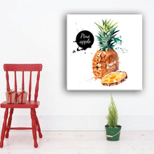 Handmade pineapple pop wall canvas art painting with glass coating