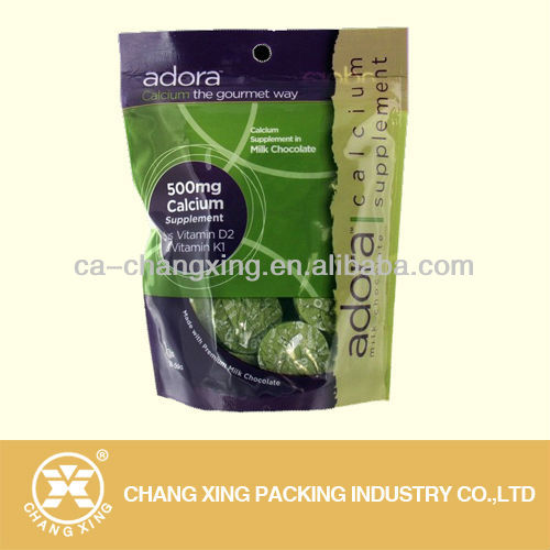 plastic film laminated resealable stand up pouch with zipper for calcium protein supplement