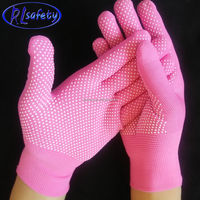 13 Gauge mini pvc dots PINK NYLON Cheapest mini pvc dots Gloves, Chinese Factory