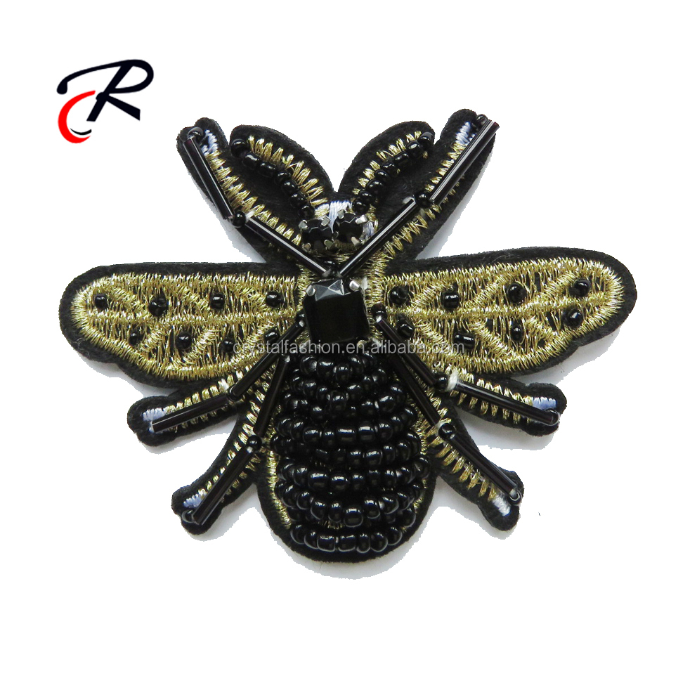 Garment accessory patches bees animal applique embroidery with beads stones