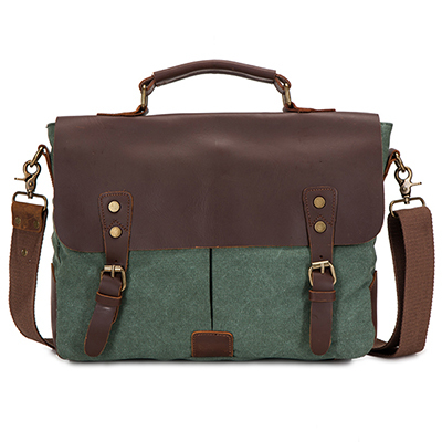 Green canvas super fashion laptop messenger bag