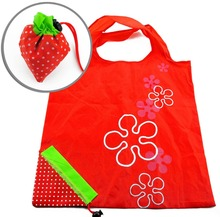 Strawberry shape Collapsible recycle red polyester folding shopping Bags