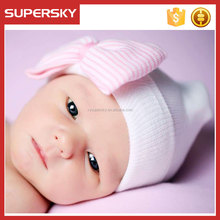 A-1560 Cute Cotton Infant Hospital Baby Hat Newborn Baby Hospital Hat Bowknot Baby Girls Hat for Coming Home from Hospital