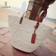 White Big Compacity Paper Straw Bags &Handbags With Leather Handles